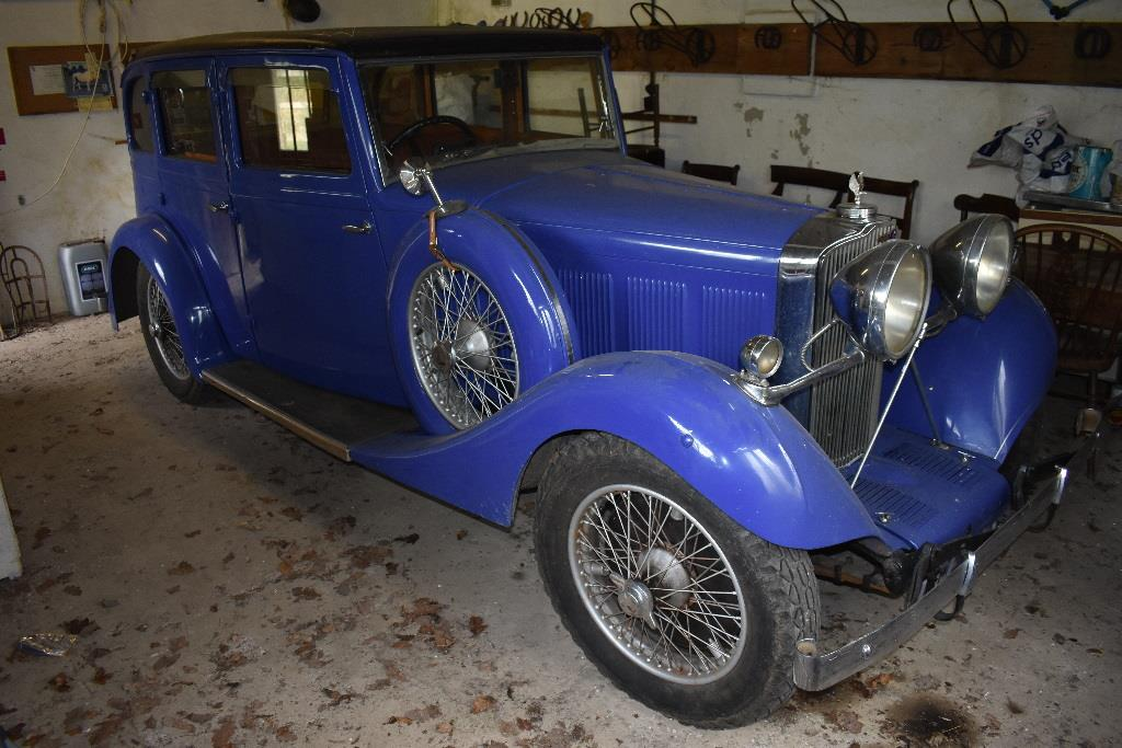 1935 Talbot AX65 six light saloon restored and finished in a vibrant blue. Estimated to fetch £18000-£22000.